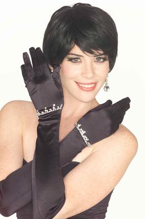 Long Rhinestone Gloves in Black