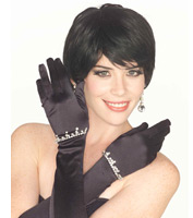 Long Rhinestone Gloves in Black