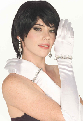 Long White Rhinestone Gloves