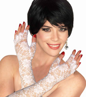 Fingerless White Lace Gloves