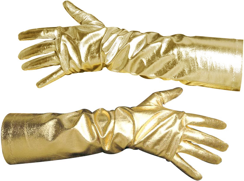 Full Length Gold Lame Costume Adult Gloves