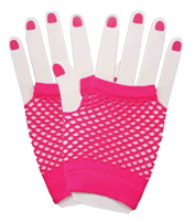 Fingerless Fishnet Gloves in Pink