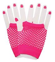 Fingerless Fishnet Gloves in Pink