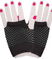 Fingerless Fishnet Gloves in Black