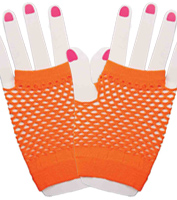 Fingerless Fishnet Orange Gloves