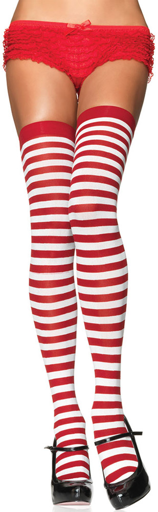 a9391027eee08 Red & White Striped Thigh-Highs at Boston Costume