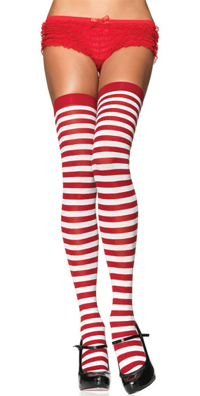 Red & White Striped Thigh-Highs