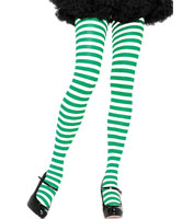 Green & White Striped Tights