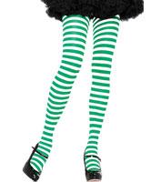 Green & White Striped Tights