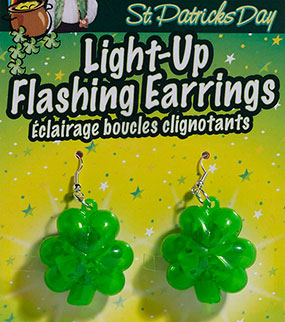Flashing St. Patrick's Day Earrings