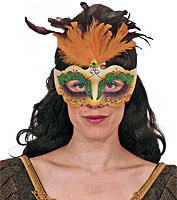 Mardi Gras Mask with Yellow Feathers
