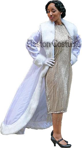 1920's White Coat with Fur Trim