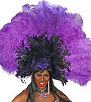 Purple & Black Fan Showgirl Headpiece