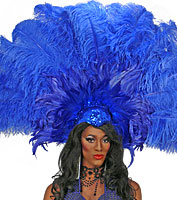 Blue Fan Showgirl Headpiece