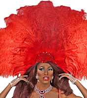 Red Fan Showgirl Headpiece