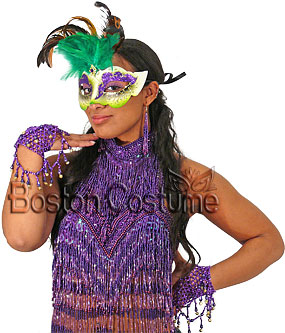 Mardi Gras Mask with Green Feathers