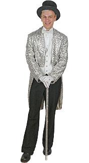 Silver Sequin Tuxedo Jacket